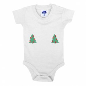 Baby bodysuit Christmas trees on the chest