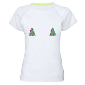 Women's sports t-shirt Christmas trees on the chest