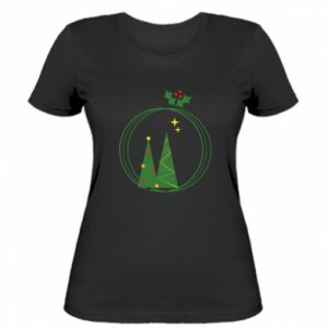 Women's t-shirt Christmas trees in a wreath