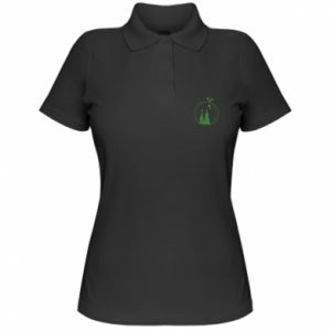 Women's Polo shirt Christmas trees in a wreath