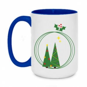 Two-toned mug 450ml Christmas trees in a wreath