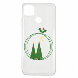Xiaomi Redmi 9c Case Christmas trees in a wreath
