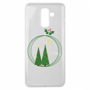 Samsung J8 2018 Case Christmas trees in a wreath