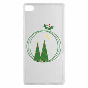 Huawei P8 Case Christmas trees in a wreath