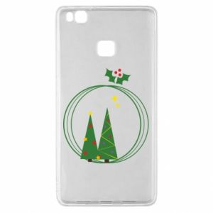 Huawei P9 Lite Case Christmas trees in a wreath