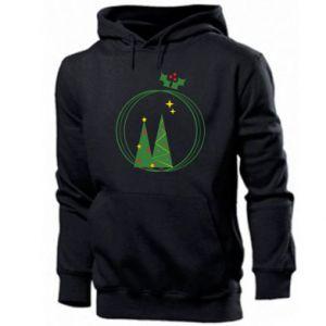 Men's hoodie Christmas trees in a wreath