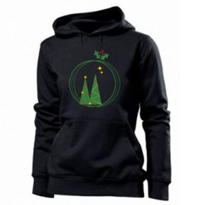 Women's hoodies Christmas trees in a wreath