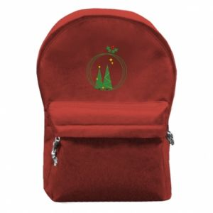 Backpack with front pocket Christmas trees in a wreath
