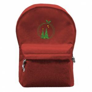 Plecak z przednią kieszenią Choinki w wieniec