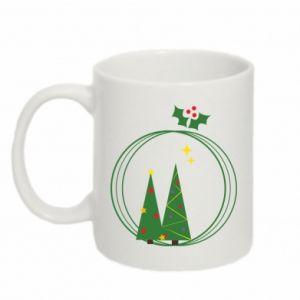 Mug 330ml Christmas trees in a wreath