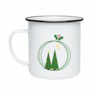 Enameled mug Christmas trees in a wreath