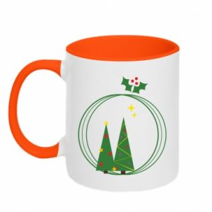 Two-toned mug Christmas trees in a wreath