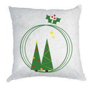 Pillow Christmas trees in a wreath
