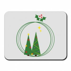 Mouse pad Christmas trees in a wreath