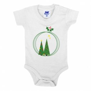 Baby bodysuit Christmas trees in a wreath