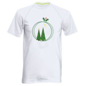 Men's sports t-shirt Christmas trees in a wreath