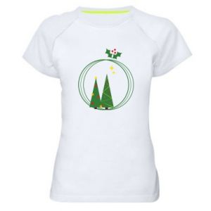 Women's sports t-shirt Christmas trees in a wreath