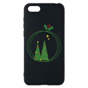 Phone case for Huawei Y5 2018 Christmas trees in a wreath