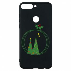 Phone case for Huawei Y7 Prime 2018 Christmas trees in a wreath