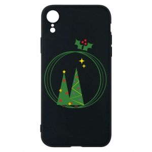 Phone case for iPhone XR Christmas trees in a wreath