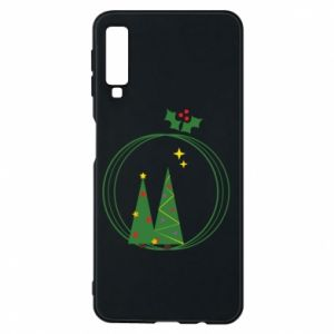 Samsung A7 2018 Case Christmas trees in a wreath
