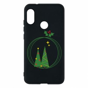 Mi A2 Lite Case Christmas trees in a wreath