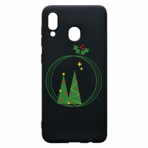 Samsung A20 Case Christmas trees in a wreath