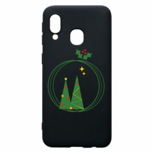 Samsung A40 Case Christmas trees in a wreath