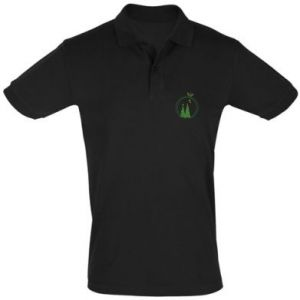Men's Polo shirt Christmas trees in a wreath