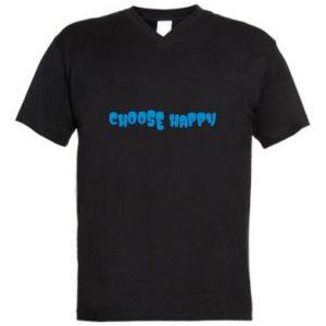 Męska koszulka V-neck Choose happy