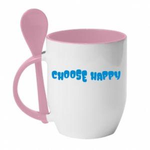 Kubek z ceramiczną łyżeczką Choose happy