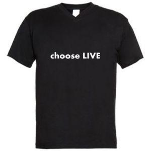 Męska koszulka V-neck Choose live