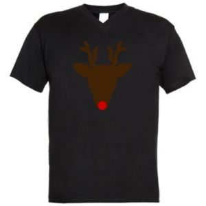Men's V-neck t-shirt Christmas deer