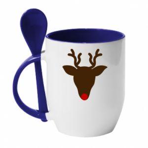Kubek z ceramiczną łyżeczką Christmas deer