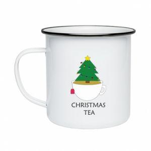 Enameled mug Christmas tea