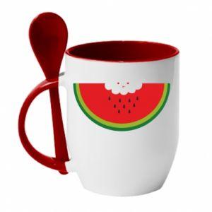 Kubek z ceramiczną łyżeczką Cloud of watermelon
