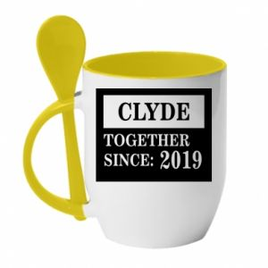 Mug with ceramic spoon Clyde Together since: 2019 - PrintSalon