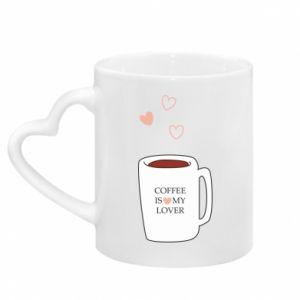 Kubek z uchwytem w kształcie serca Coffee is my lover