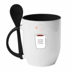 Kubek z ceramiczną łyżeczką Coffee is my lover