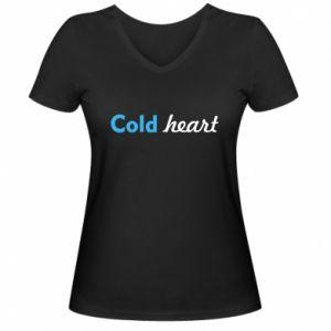 Damska koszulka V-neck Cold heart