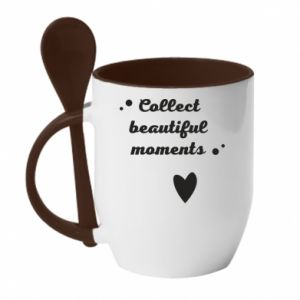 Kubek z ceramiczną łyżeczką Collect beautiful moments