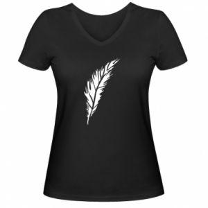 Damska koszulka V-neck Colored feather