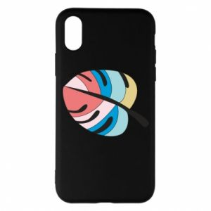 Phone case for iPhone X/Xs Colorful big leaf