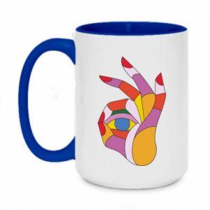 Kubek dwukolorowy 450ml Colorful hand with eye