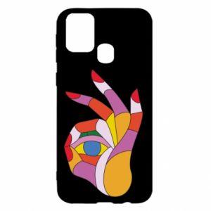 Etui na Samsung M31 Colorful hand with eye