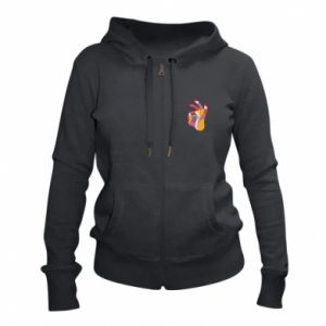 Women's zip up hoodies Colorful hand with eye