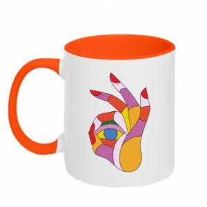 Kubek dwukolorowy Colorful hand with eye