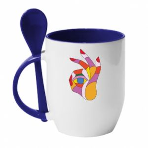 Mug with ceramic spoon Colorful hand with eye