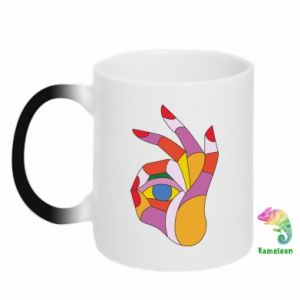 Chameleon mugs Colorful hand with eye