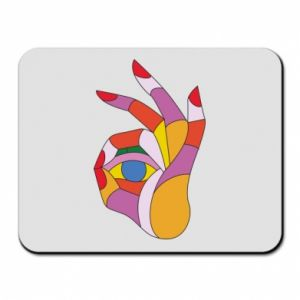 Mouse pad Colorful hand with eye - PrintSalon